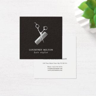 De moderne Elegante Donkere Zilveren Kam van de Vierkant Visitekaartjes
