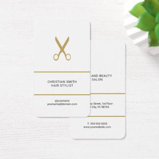 De moderne Elegante Witte Gouden Herenkapper van Visitekaartjes