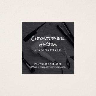 De moderne Elegante Zwarte & Witte Kapper van de Vierkant Visitekaartjes