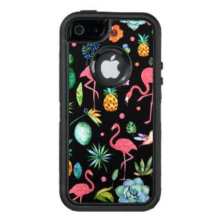 De moderne Flamingo's met Tropische Bloemen & OtterBox Defender iPhone Hoesje