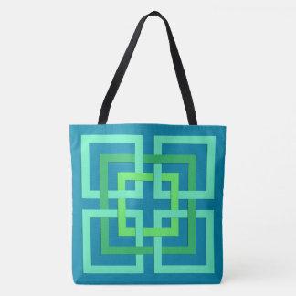 De moderne Geometrische Vierkanten, Aqua, Draagtas