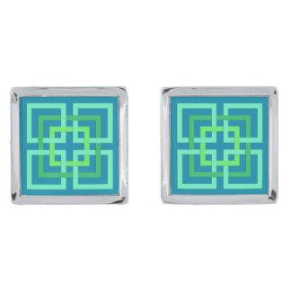 De moderne Geometrische Vierkanten, Aqua, Verzilverde Manchetknopen