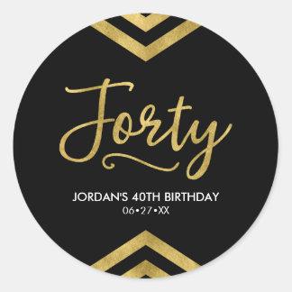 De moderne Gouden Geometrische 40ste Verjaardag Ronde Sticker