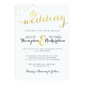 De moderne Gouden Uitnodiging van het Huwelijk van