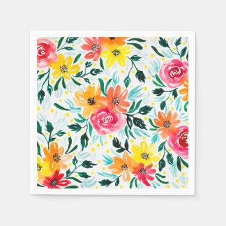 De moderne Kleurrijke Bloemen van de Waterverf Papieren Servetten