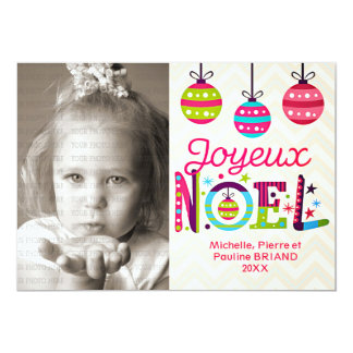De moderne Kleurrijke Foto van Joyeux Noël 12,7x17,8 Uitnodiging Kaart
