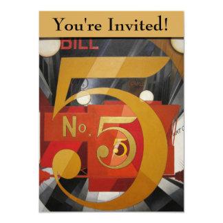 De moderne Kubiste Demuth Figuur van de Kunst 5 in 11,4x15,9 Uitnodiging Kaart