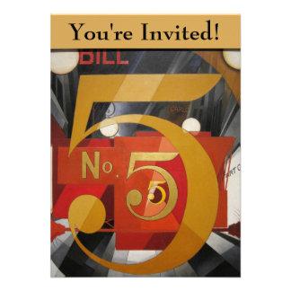 De moderne Kubiste Demuth Figuur van de Kunst 5 in Persoonlijke Aankondiging