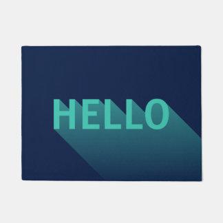 De moderne Marineblauwe en Blauwgroen Hello Deurmat