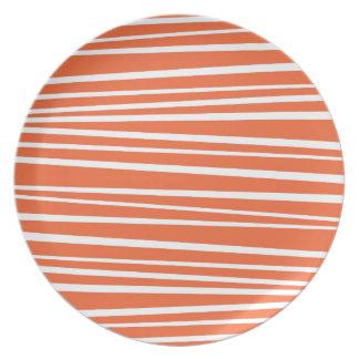 De moderne Oranje Abstracte Zigzag van de Strepen Party Bord