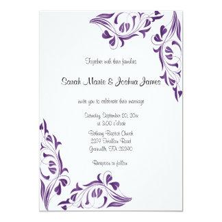 De moderne Paarse BloemenUitnodigingen van het 12,7x17,8 Uitnodiging Kaart