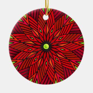 De moderne Poinsettia van het Art deco - Rond Keramisch Ornament