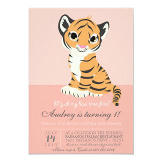 De moderne Roze Uitnodiging van de Oranje Tijger