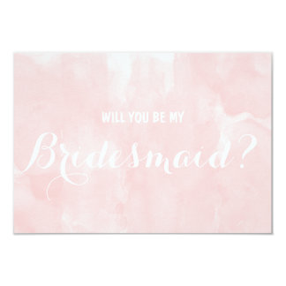 De moderne roze waterverf zal u mijn Bruidsmeisje 8,9x12,7 Uitnodiging Kaart