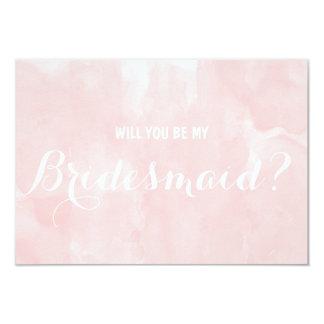 De moderne roze waterverf zal u mijn Bruidsmeisje Kaart