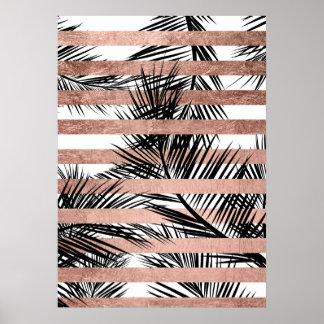 De moderne tropische elegante palmen namen gouden poster
