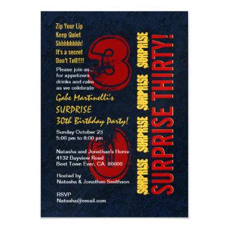 De Moderne Verjaardag van de VERRASSING dertigste 12,7x17,8 Uitnodiging Kaart