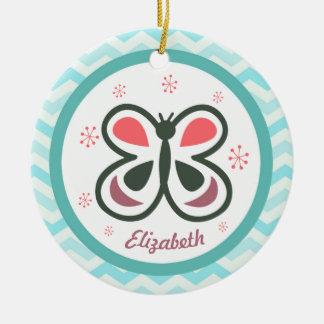 De moderne Vlinder Gepersonaliseerde Kinder Gift Rond Keramisch Ornament