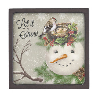 de moderne wijnoogst wintergarden sneeuwman premium cadeau doosje