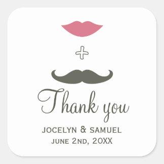 De modieuze Gunst van de Snor en van het Huwelijk Vierkante Stickers
