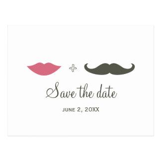 De modieuze Snor en de Lippen bewaren de Datum Briefkaart