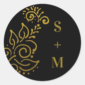 De modieuze Zwarte en Gouden Verbinding van de Ronde Sticker