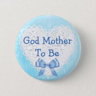 De Moeder van de god om de Blauwe Kanten Knoop van Ronde Button 5,7 Cm