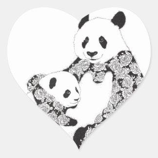 De Moeder van de panda & de Welp van het Baby Hart Sticker