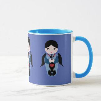 De Mok van de Koffie van Doll van Kokeshi van de