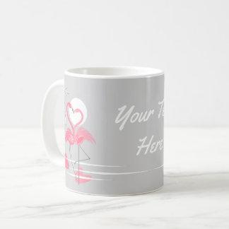 De mok van de Tekst van de Liefde van de flamingo