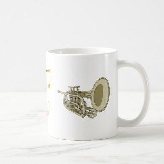 de mok van de trompetmuziek
