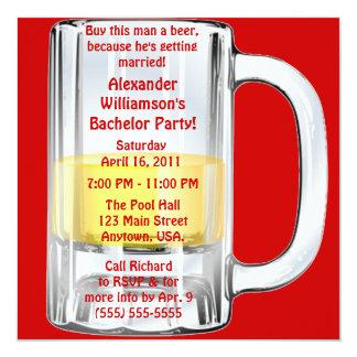 De Mok van het Bier van de Partij van de vrijgezel 13,3x13,3 Vierkante Uitnodiging Kaart