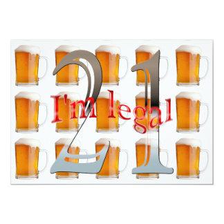 De Mokken van het bier ben ik de Wettelijke 21ste 12,7x17,8 Uitnodiging Kaart