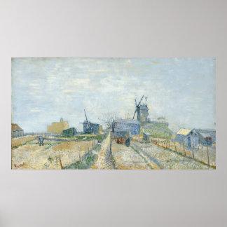 De Molens van Montmartre en Moestuinen door Van Poster
