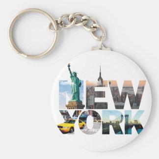De Montering van het Alfabet van New York Basic Ronde Button Sleutelhanger