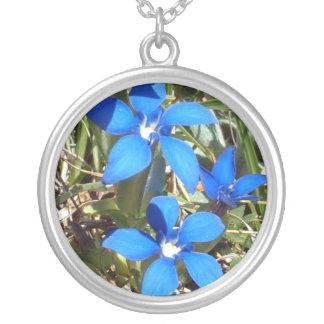 De mooie Blauwe Alpiene Bloemen van de Gentiaan Zilver Vergulden Ketting