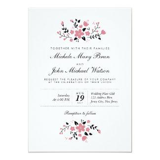 De mooie Bloemen Moderne Modieuze Uitnodiging van 12,7x17,8 Uitnodiging Kaart