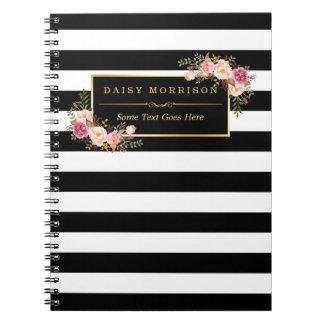 De Mooie Bloemen Verpakkende Gouden Strepen B&W Ringband Notitie Boeken