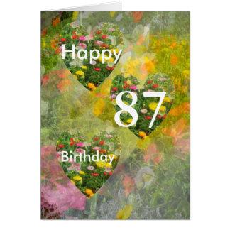 de Mooie BloemenHarten van de 87ste Verjaardag Kaart