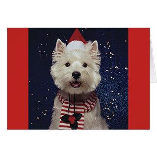 De mooie Kaart van Westie Kerstmis-Themed