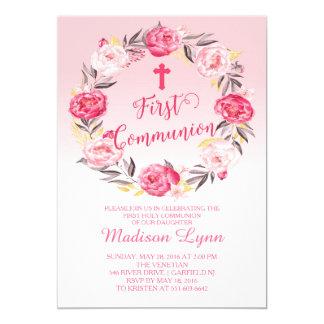 De mooie Moderne Bloemen Eerste Heilige Communie Kaart