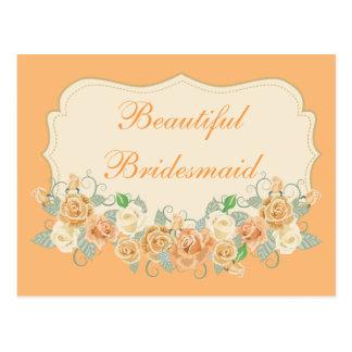 De mooie Perzik van het Bruidsmeisje Bloemen Briefkaart
