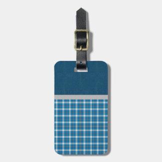 De mooie Retro Blauwe Plaid van het Land Kofferlabels