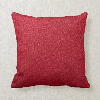De mooie Rode Textuur van het Leer Faux Sierkussen
