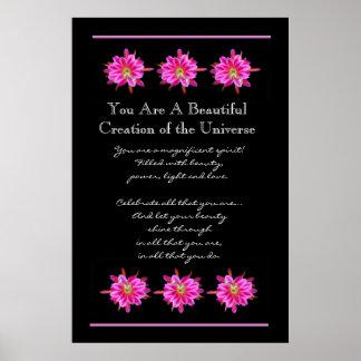 De Mooie Roze Bloemen van de inspiratie Poster