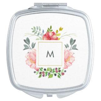 De mooie Roze Bloemen van de Pioen met Monogram Make-up Spiegeltjes