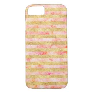 De mooie Roze Gouden Strepen Glitz van de iPhone 8/7 Hoesje
