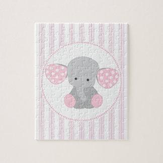 De mooie Roze Olifant van het Meisje van het Baby Legpuzzel