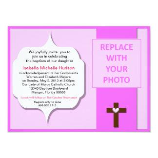 De mooie Roze Uitnodigingen van Baptsim van de 16,5x22,2 Uitnodiging Kaart