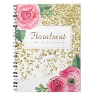De mooie Rozen Watercolour en schitteren Ringband Notitieboek